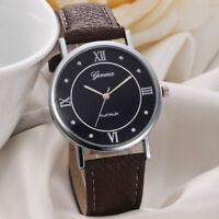 Geneva Platinum  Roman Numeral Quartz Alloy Dress Watch Brown PU Leather Strap