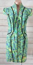 Sheike Pencil Dress Size 12 (10)  Green Blue Exposed Zip Front Floral