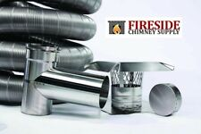 "4""x 35' 304 Stainless Steel Flexible Chimney Liner Pellet Tee Kit .006 Thick"