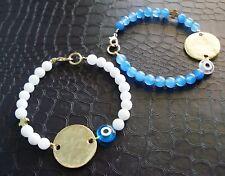 22 K Gold Blue Rose Evil Eye White Coral Blue Jade Gem Hematite Cross Bracelet