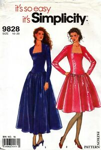 90s Simplicity Sewing Pattern 9828 Easy Lined Deep Cut Neckline Dress Size 10-20