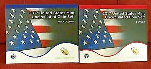2017 U.S. Uncirculated Coin Sets-Philadelphia & Denver Mints-20 Coins with COAs