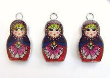 "10 Russian Doll Girl 1"" Enamel Charm/Bracelet/Bead/Beading/Holiday Craft EK26"