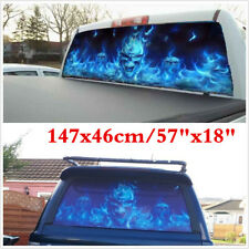 """57""""x18"""" Flaming Skull Rear Window Tint Graphic Decal Wrap Back Truck Tailgate"""