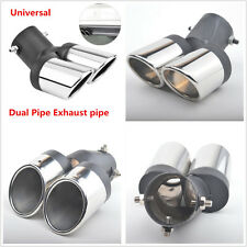 Car Modification Grilled Black Stainless Steel 1 to 2 Dual Pipe Exhaust Tip Tube