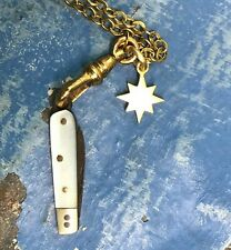 Antique chatelaine knife fob necklace mop assemblage charm holder watch chain