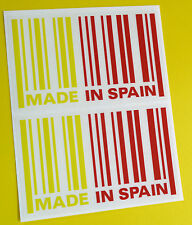 MADE IN SPAIN flag BARCODE sticker decal x2 SEAT IBIZA LEON CUPRA R ALTEA TOLEDO