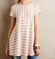 Puella Anthropologie Small Striped Swing Short Sleeve Tunic Top Shirt Beige