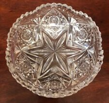"6"" ABP Libbey Cut Glass Bowl  Starburst & Hobstars with Scalloped Sawtooth Edge"