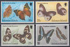 Solomon Islands 1982 ** Mi.455/58 Schmetterlinge Butterflies Insekten [sq6067]