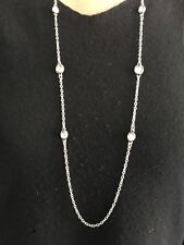 Silver Long Chain Necklace With Crystals Faceted Discs Turkish Ottoman Women