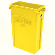Yellow 23Gal Slim Plastic Waste Bin Trash Can Home Garbage Storage In Out Door
