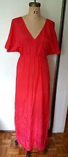 Blaque Label maxi open back short wide sleeves red pink V neck dress M