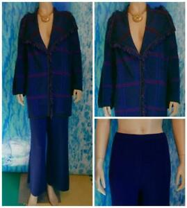 St. John Knits Royal Blue Jacket Pants XL 16 14 18 2pc Suit Fringe Trim Plaid