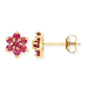 Ruby Cluster Stud Earrings 9ct Yellow Gold 4.5mm Real Ruby Flower Stud Earrings