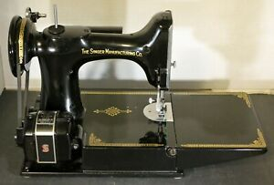 VINTAGE SINGER FEATHER WEIGHT SEWING MACHINE WORKING WITH ATTACHMENTS AL183875
