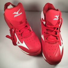 Mizuno Men's Baseball Shoes Red and White Spike 8 Cleat 12 M 320504