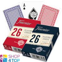 2 DECKS FOURNIER 26 PLASTIC COATED BRIDGE PLAYING CARDS RED BLUE STANDARD NEW