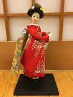"Maiko Kimono 10 "" Figure Red Japanese Standing Geisha Doll  F/S From Japan"