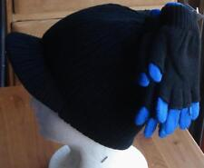 Boys Reversible Hat and Glove Set - Blue and Gray Stripes / Black - Size 8-20