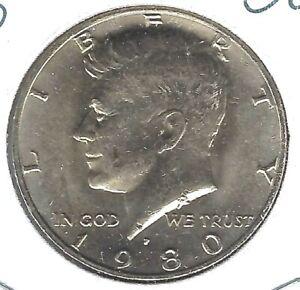 1980-P Philadelphia Uncirculated Nickel Clad Copper Strike Half Dollar Coin