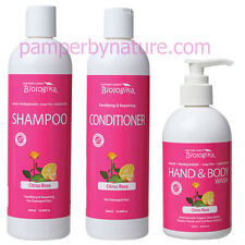 Biologika Citrus Rose Shampoo + Conditioner + Hand & Body Wash with pump
