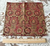 "French Antique Red Frame Jacquard Tapestry Fabric Sample c1900~12"" Square"