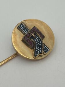 Enamel & Ruby French 18k Gold Stick/Lapel pin c.1880