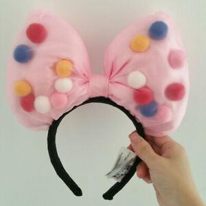Disney Park Big Bow Pink Colorful Ball Minnie Ears Headband Flower Gift Costume
