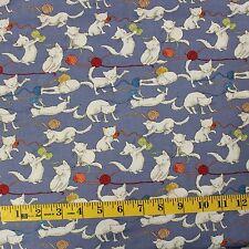 Kittens Playful white cats blue wool yarn knitting 100% Cotton Fat 1/4