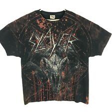 Vintage Slayer All Over Print Metal T shirt XL Goat Head Devil Satan Blood Rare