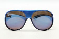 French Ski Glasses Sunglasses Two Tone Blue 15AC 74C Tight Fit Large Mirror Lens