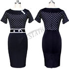 Womens Vintage Rockabilly Pinup Retro Tunic Party Bodycon Cocktail Pencil Dress