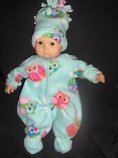 "Green Owl Sleeper & Hat 15"" Doll Clothes Handmade To Fit Bitty Baby 3"