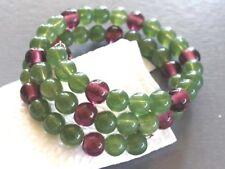 Green & Purple Glass Bead Memory Wire Coil Bracelet