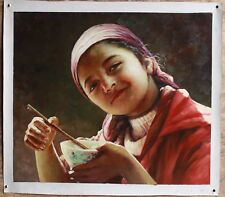 PortraitXinkiang young girl lovely kid art original oil painting on canvas 20x24