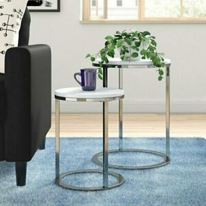 Norsk Set of 2 Tables, White Nest Table Tops with chrome legs.Stylish Side Table