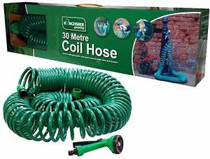 100FT 30m Retractable Coil Hose Pipe Reel Water Spray Gun Nozzle Garden Patio UK