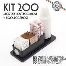 Kit Accessori Caffè 200 pezzi, Zucchero, Palette, Bicchierini + PORTACCESSORI