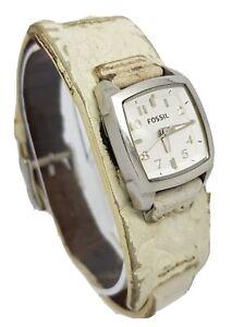 Fossil Ladies Stainless Steel Case Leather Bund Strap Watch A8