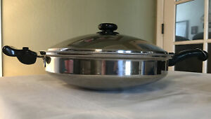 """Saladmaster Versa TEC TP304-316 Surgical Stainless Steel Wok With Lid 14 3/4"""""""
