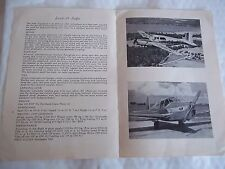 A 4 page Saab Safir Monoplane Technical Data Brochure dated 1949 - Illustrated
