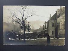 Dayton Ohio OH Fire at Third & St. Clair Real Photo Postcard RPPC 1913