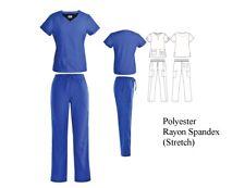 Women's 4 Way Stretch Medical Uniform Nursing Scrub Set Top 5 Pocket Pants Nwt
