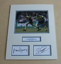 PAUL DICKOV & RICHARD EDGHILL Manchester City HAND SIGNED Photo Mount + COA