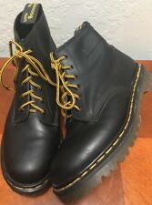 Vtg DR DOC MARTENS Size 8 AIR WAIR Black LEATHER BOOTS MADE IN ENGLAND MIE