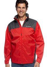 NEW COLUMBIA MEN'S GLENNAKER LAKE RAIN JACKET PACKABLE HOODED SMALL / MEDIUM RED