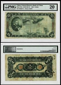Superb Rare Genuine 1938 China Federal Reserve Bank 1 Dollar Banknote in PMG20