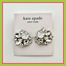 Kate Spade Silver Reflecting Pool Clear Crystal Cluster Stud Earrings