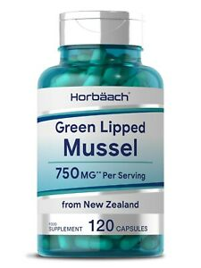 Green Lipped Mussel 750mg | 120 Capsules | Joint Health | by Horbaach